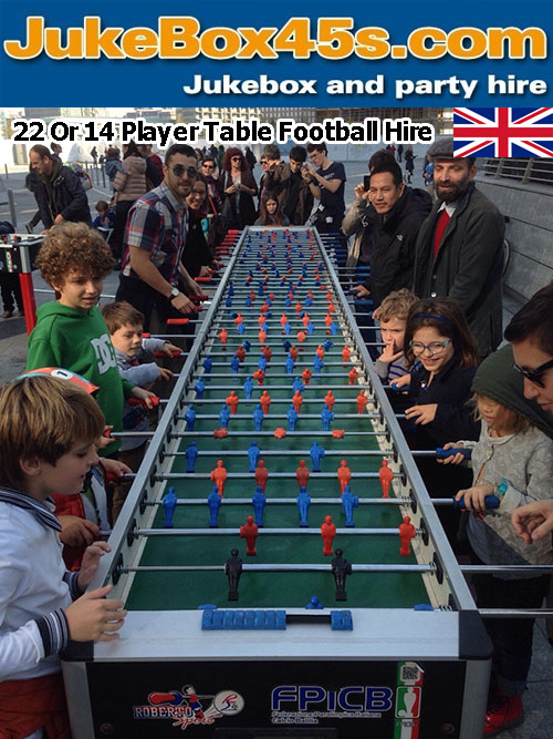 extra long giant foosball football table hire uk parties weddings events uk