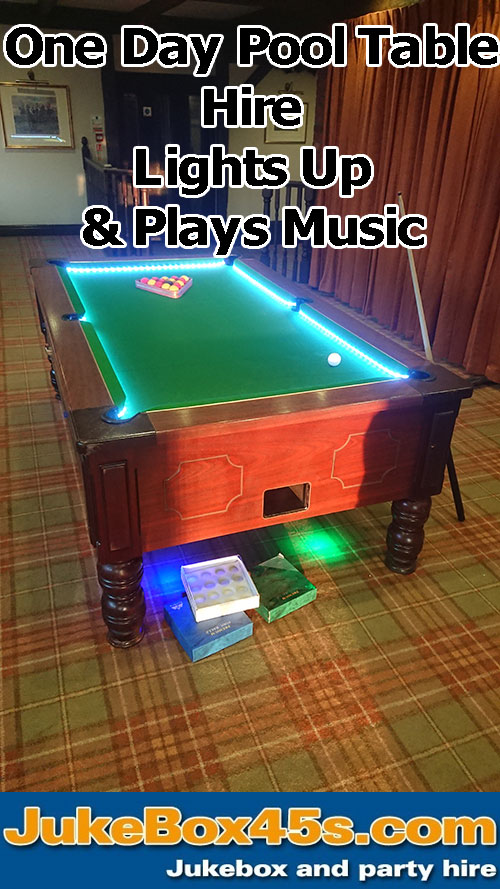 led pool table hire lights